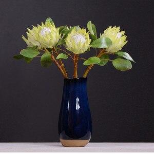 Image 5 - 牧歌的なスタイル 1 ピース偽の花美しい王プロテア手作り造花ディスプレイホーム装飾絹の花