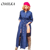 OMILKA Three Breasted Denim Dress 2018 Autumn Women Long Sleeve Button Denim Bandage Dress Casual Blue Pocket Long Jeans Dress