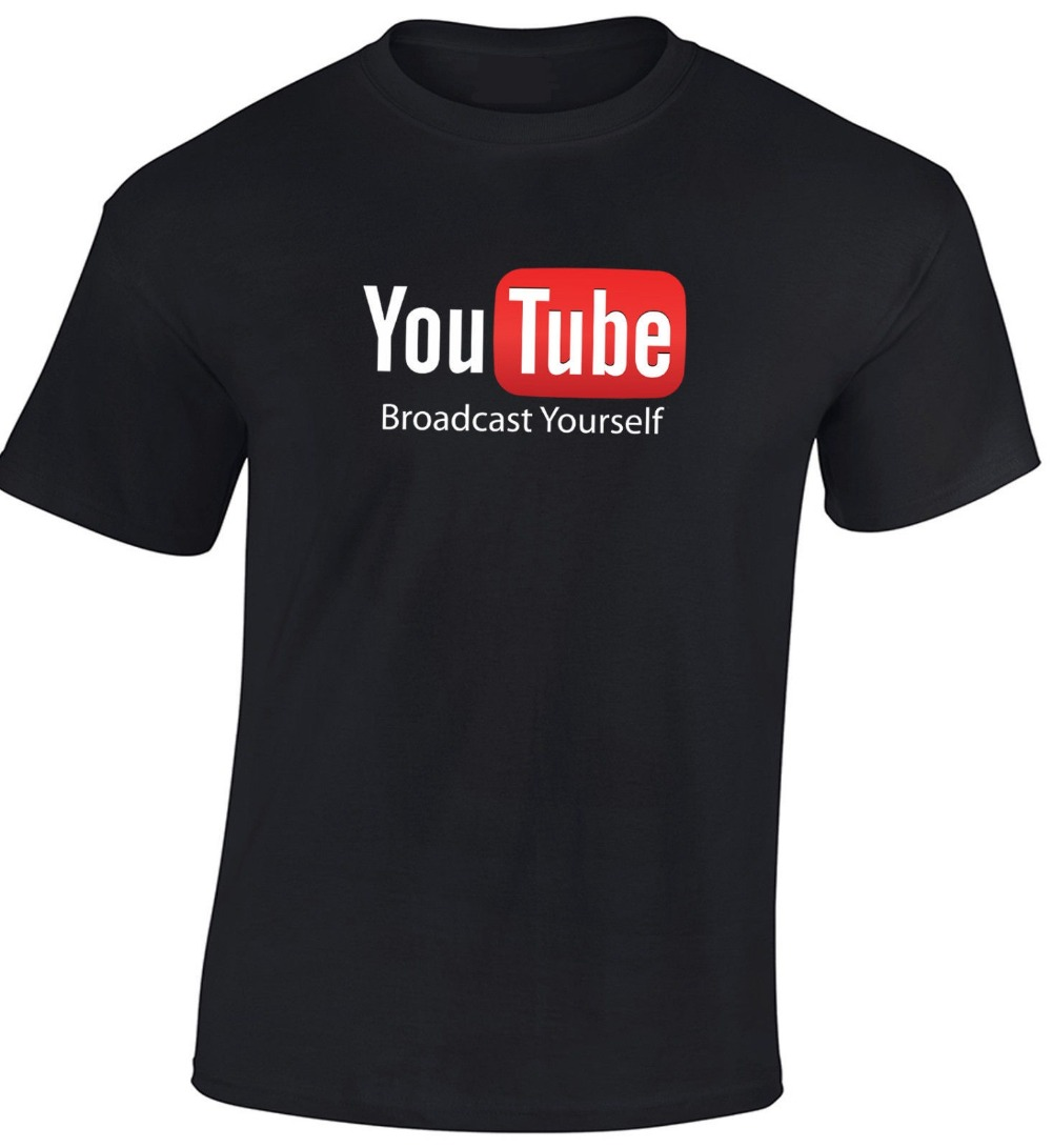 New design youtube t shirt broadcast yourself printed cotton fashion top tee summer short sleeve men s
