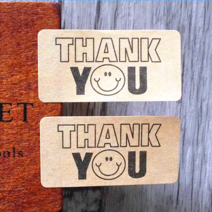 120pcs lot Uppercase THANK YOU Smiley Cowhide Seal Kraft Paper For Baking Gift Sealing Sticker in Stickers from Home Garden
