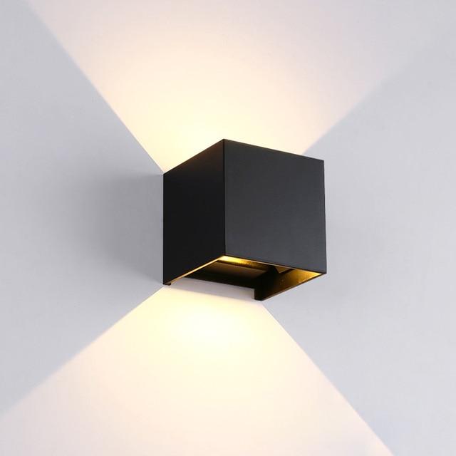 מתכוונן 6 W LED מנורת קיר IP65 עמיד למים מקורה וחיצוני אלומיניום קיר אור צמודי קוביית LED גן מרפסת אור