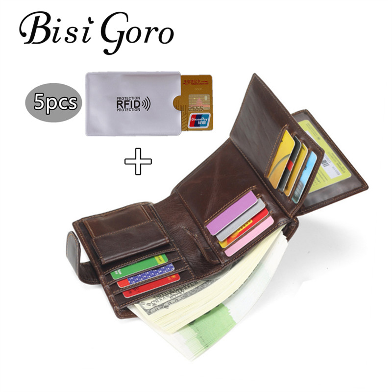 Bisi Goro 2018 Genuine Leather Men And Women Wallet Female Lady Cowhide Vintage Short Wallet Mini Pocket Perse Holder Coin Purse simline fashion genuine leather real cowhide women lady short slim wallet wallets purse card holder zipper coin pocket ladies