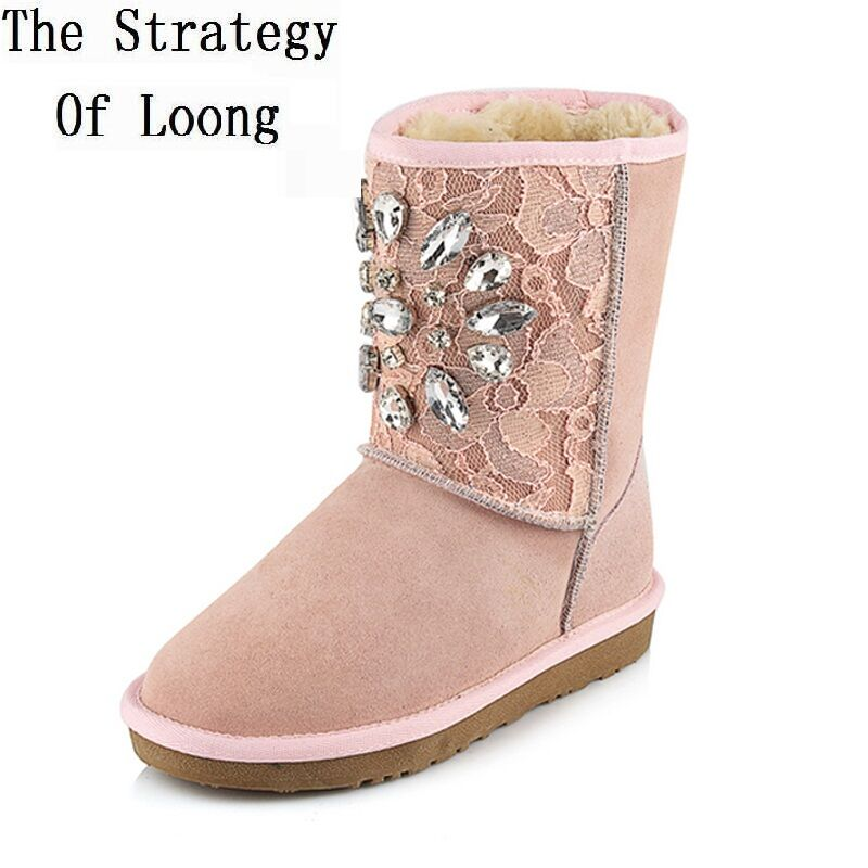 Winter Women Flats Chunky Heel Genuine Leather Rhinestone Lace Round Toe Fashion Warm Ankle Snow Boots Size 34-43 SXQ0723 купить