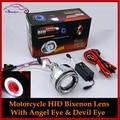 2.0 inch Motorcycle HID Bi-Xenon Headlight Projector Lens Xenon Light Kit With CCFL Angel Eye Halo And Devil Demon Eye H4 H7