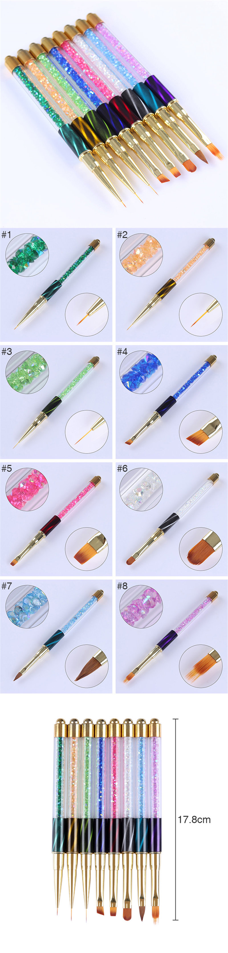 1Pc Nail Art Brush With Aluminium Alloy Handle For drawing lines And Fine Details Flower Patterns Brush 6