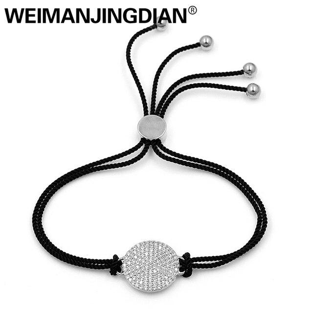 WEIMANJINGDIAN Веревка Цепи инкрустация кубическим цирконием круглые браслеты с регулируемым скользящим замком для мужчин или женщин в различных...