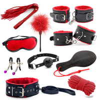 Leather fun Adult Games 10 PCS/SET Sex Products ,Slave Restraint Item Play Fun Games Restraints Kit Erotic Toys For Sex Couple