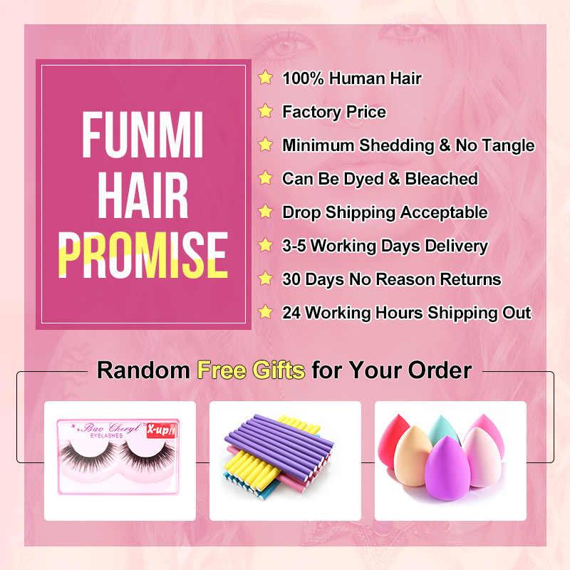 Paquetes de onda suelta brasileña Funmi con cierre de 4X4 pulgadas 3 paquetes con cierre libre/Medio/tres parte 100% cabello humano virgen
