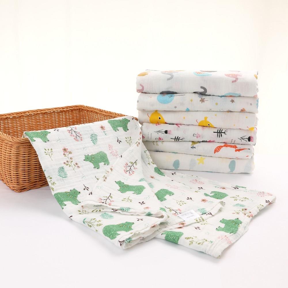 Muselina 100% Algodón Bebé Swaddles Suave Recién Nacido Mantas De Baño De Gasa Para Bebé Saco De Dormir Funda Para Cochecito