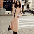 Nuevo estilo elegante del collar del soporte delgado largo abrigo de las mujeres negro camel moda otoño invierno abrigo de un solo pecho femenino