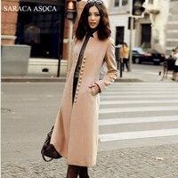 Nuovo Stile elegante del collare del basamento sottile lungo cappotto cammello nero di modo delle donne autunno inverno monopetto cappotto femminile