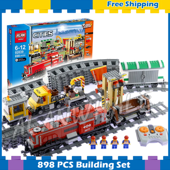 898pcs City Trains Motorized Remote Control Red Cargo Train 02039 Model Building Blocks Children Gifts sets Compatible With Lago