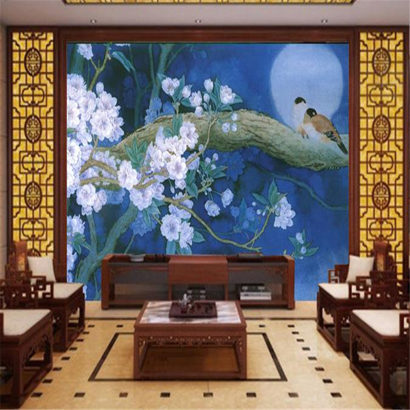 Custom 3D Wall Stickers Blue Birds HD Photo Wall Murals 3D Wallpaper for Living Room Bedroom Chinese New Style Murals Wall Paper custom photo wallpaper 3d wall murals balloon shell seagull wallpapers landscape murals wall paper for living room 3d wall mural