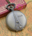 wholesale buyer price good quality fashion lady girl unisex new bronze Eiffel Tower pocket watch necklace with chain