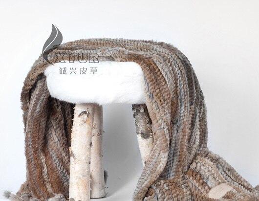 CX D 15A China Handmade Custom Made Malha Genuine Rabbit Fur Throw Cobertores de Cama Sofá Lance - 2
