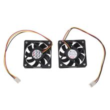 60mm 6cm DC 12V 3 Pin Computer Case CPU Cooler Cooling Fan Black 2 Pcs 46 60mm hole pitch sb nb chipset cooler copper black