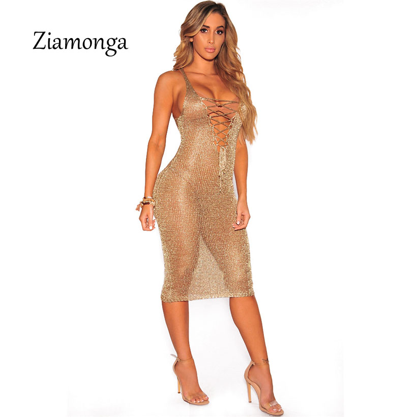 6484154867 Ziamonga Sexy Lace Up Tunic Gold Crochet Beach Dress Women Hollow Out  Sleeveless Deep V Tank