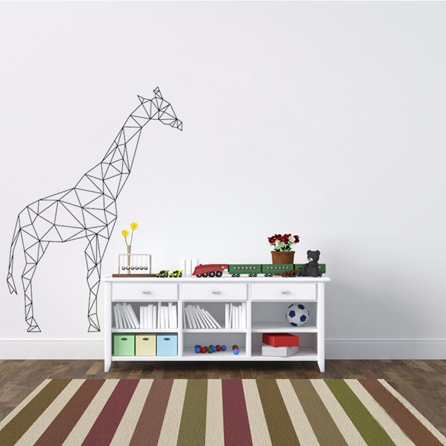 Wonderful Geometric Giraffe Wall Decal Vinyl Sticker Geometry Animal Series Wallpaper  3D Visual Effects Wall Art Mural