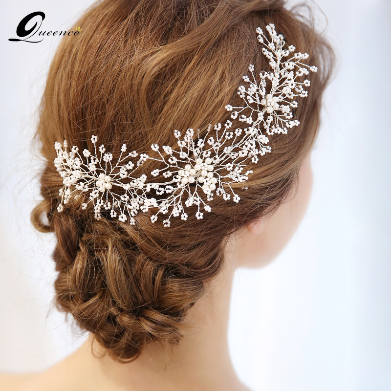Aliexpress.com : Buy QUEENCO Elegant Handmade Tiara Pearls Headband Bridal Hairband Wedding Hair ...