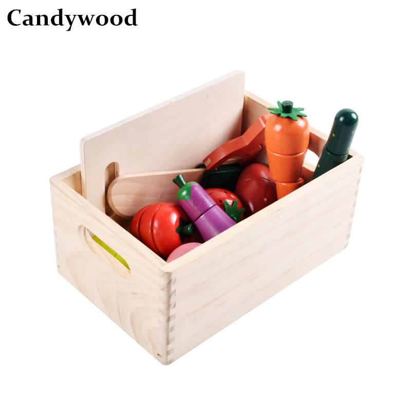 Candywood Pretend Play Wooden Kitchen Toys Cutting Fruit Vegetable food toy with wood box for baby kids gifts boy girls utoysland cutting toys kitchen food toys fruit fish vegetable blocks children lovely wooden toys play house toy for baby kids