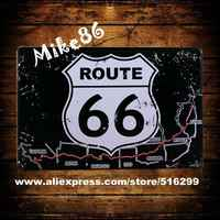 [Mike86] Black Style Route 66 In Metallo Placca Casa Targhe in metallo Della Decorazione Della Parete Pittura Mix Articoli da 20*30 CM A-817