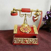 HAOCHU European Old Fashioned Telephone Model Music Box Clockwork Rotary Phonograph Nostalgia Crafts Gifts Home Decoration
