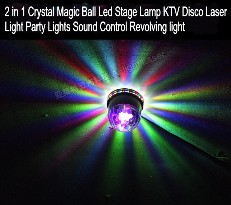 2 in 1 6color LED RGB 48 bulb Crystal Magic Ball Led Stage Lamp KTV Disco Laser Light Party Lights Sound Control Revolving light