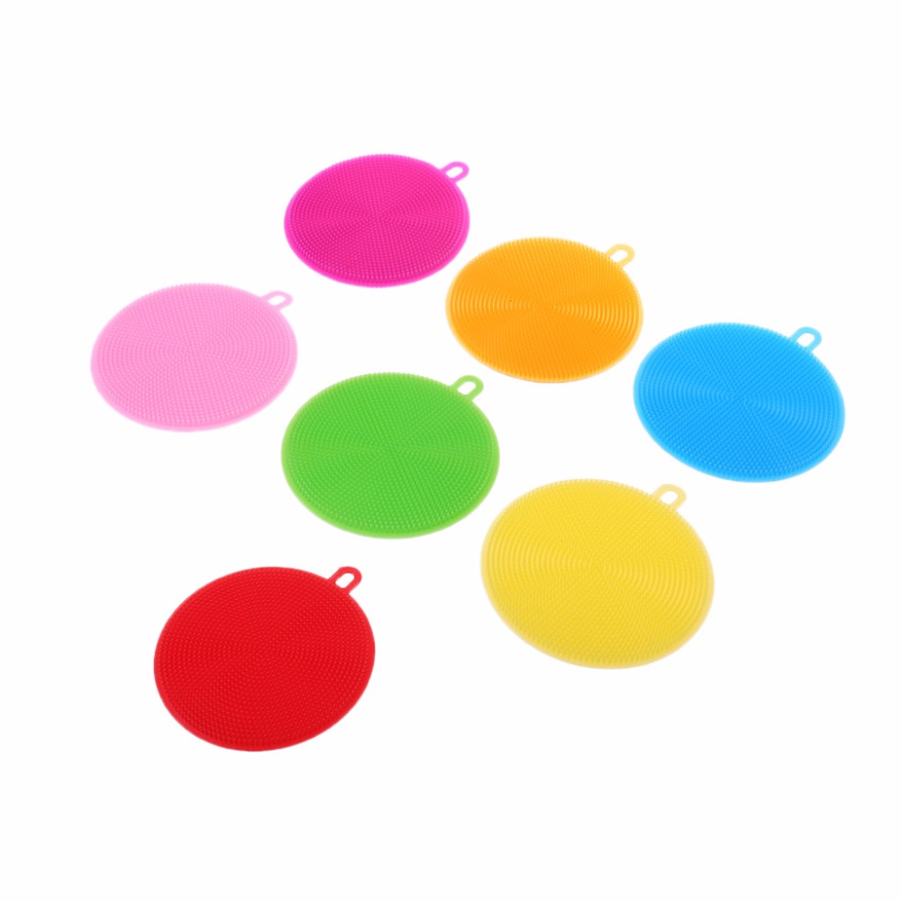 Kitchen Cleaning Tool Round Silicone Brush Clean Dish Bowl Pot Pan Scouring Pad