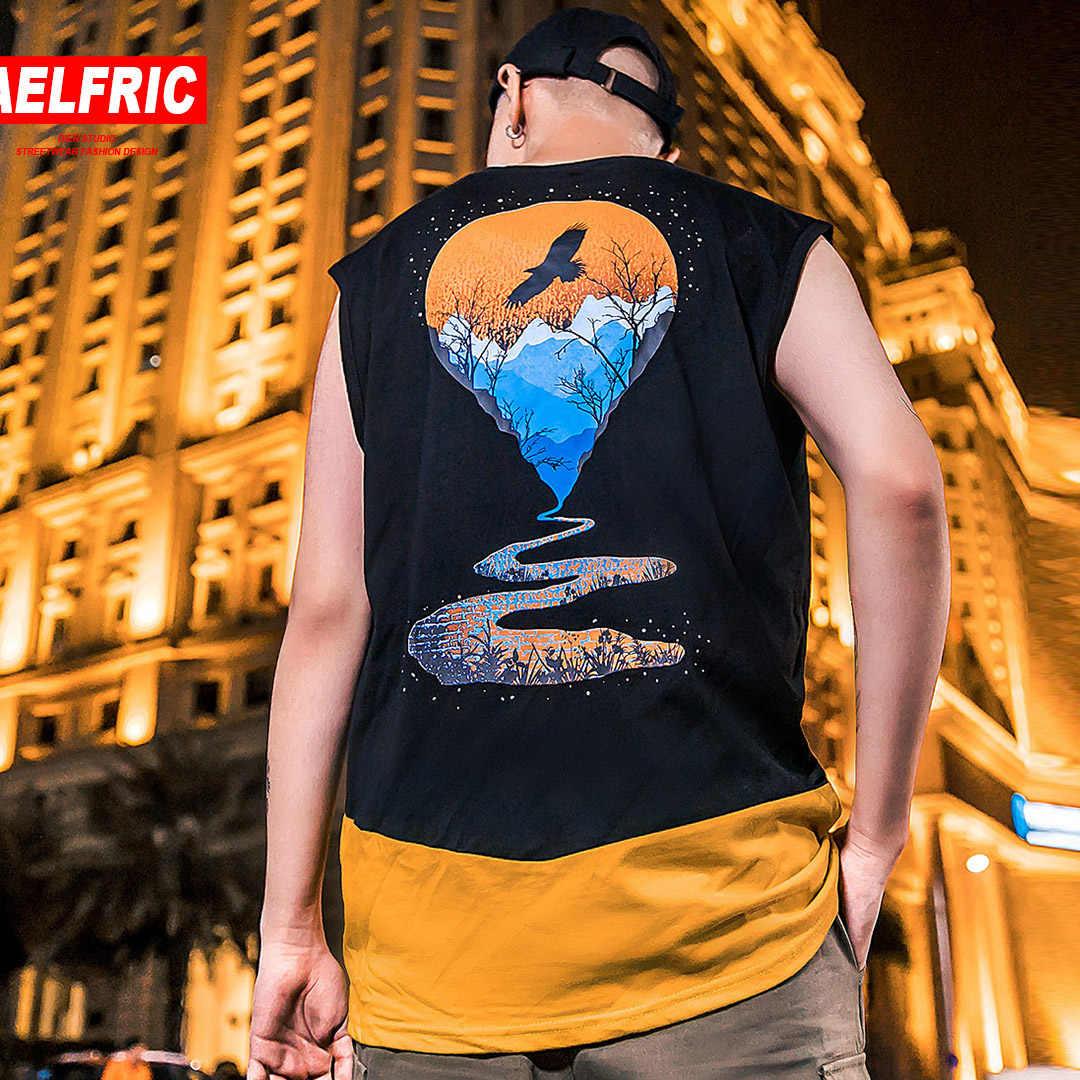 AELFRIC Hip Hop Mode Tank Tops Heren Stedelijke Vest Mouwloze 2019 Zomer Landschap Kaart Gedrukt Casual Man Tees Tops Streetwear