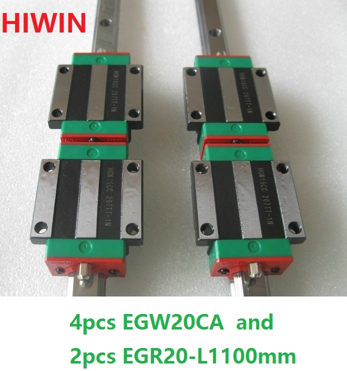 2pcs 100% original HIWIN linear rail guide EGR20 -L 1100mm + 4pcs EGW20CA linear flange block for CNC router цена