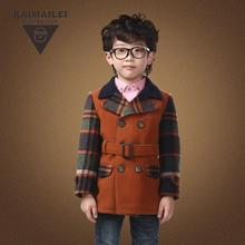 Kids Wool Jacket For Boys Plaid Boy Winter Autumn Clothes Double Breasted Children Wool Coat Belt Korean Style