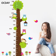 Baby Cartoon Owl Monkey Height Measure Stickers In Wall For Kids Toys Rooms Height Chart Ruler Nursery Decor Room sticker Toys(China)