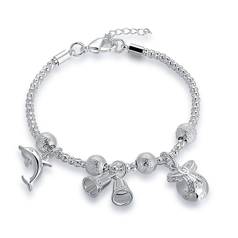 JEXXI Luky Dolphin with Trumpet Design Silver Color Beads Chain Charm Bracelet for Women ...