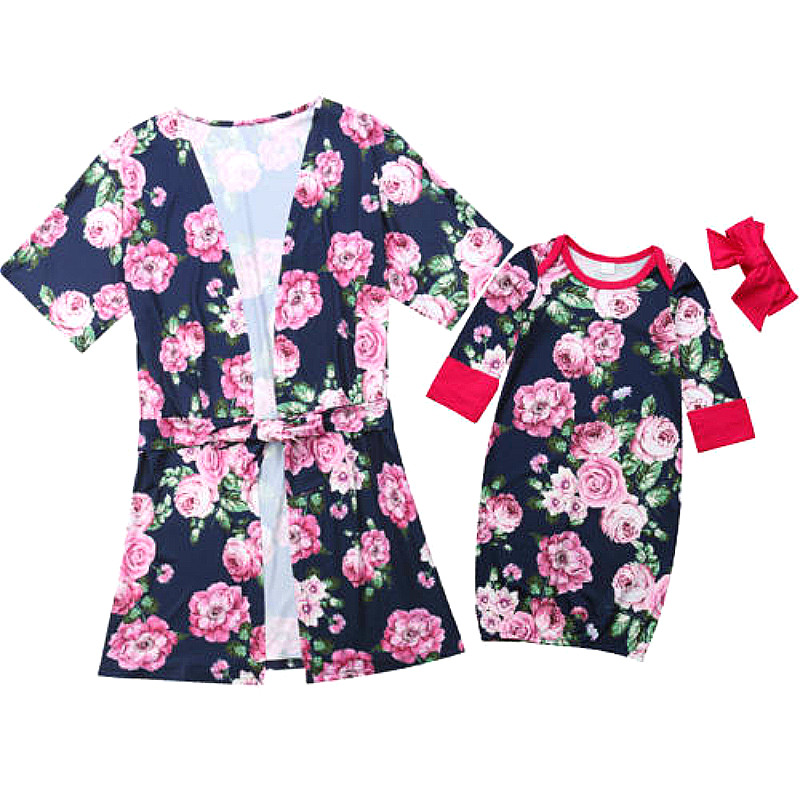 Romantic Rose Fashion Family Matching Pajamas Women's Baby Flower Robe Sleepwear Swaddle Sleep Sack Mommy And Daughter Clothes