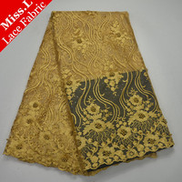 Miss L Hot Gold Color Africa Tulle Lace Fabric 5 Yards High Quality French Lace Embroider