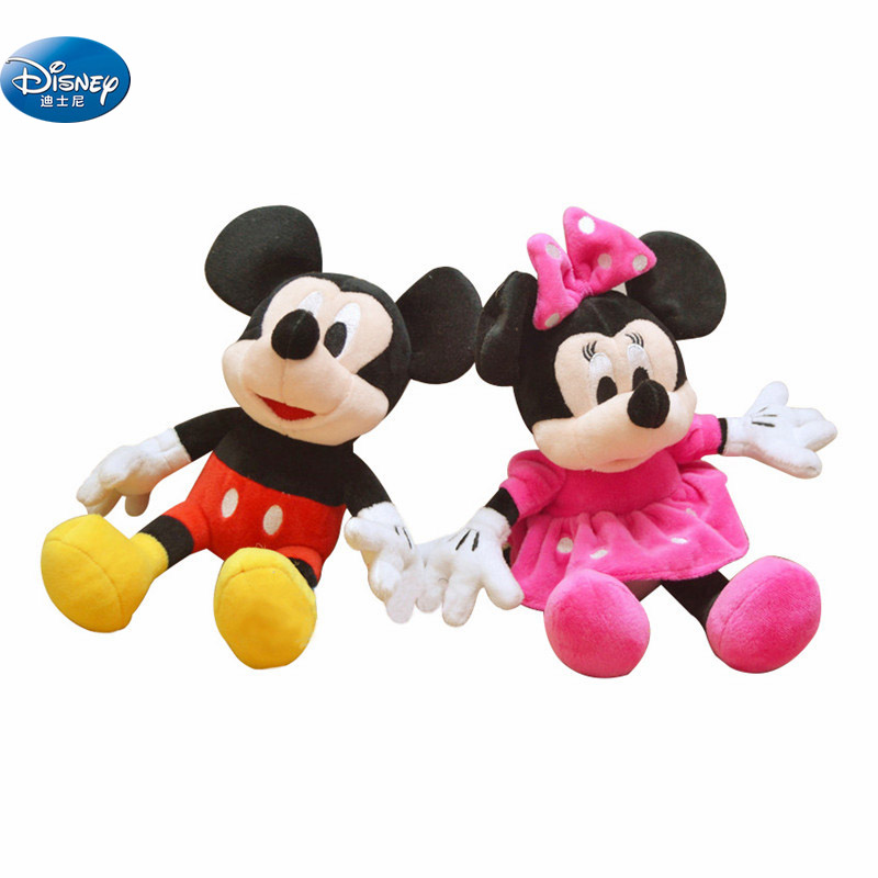 29 Cm Mickey Mouse& Minnie Plush Toys Disney Cute Soft Stuffed Dolls  Animal Pillow For Kids Gift