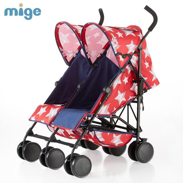 Mige 6 Wheel Twins Baby Stroller Light Fold Baby Twins Pram
