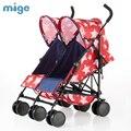 Mige Gêmeos 6 Rodas carrinho de Bebê Carrinho de Luz Dobrar Gêmeos Do Bebê Carrinho De Bebê