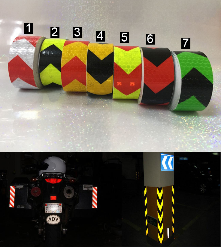 25mm x 5m Safety Mark Reflective tape stickers car-styling Self Adhesive Warning Tape Automobiles Motorcycle Reflective Film 5cm 50m orange reflective pvc arrow mark warning tape self adhesive reflective safety sign road traffic guidepost adhesive film page 1