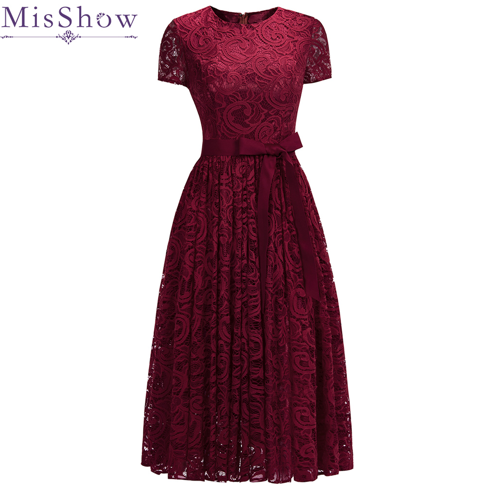 In Stock burgundy Full Lace   Cocktail     Dresses   Elegant Short Sleeves Homecoming   Dress   Formal   Dress   Women Short Prom Gown with Sash