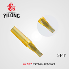 YILONG New 50pcs 9FT Flat Magnum Gold Shark Disposable Tattoo Tip Nozzle Supply GSDT-1002356-9FT