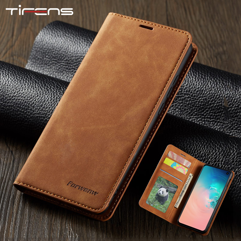 Leather Flip Case For Samsung Galaxy S9 S8 S10 J4 J6 Plus A40 A50 A60 A70 A30 A20 A80 A90 Note9 A7 A8 2018 Magnetic Wallet Cover(China)