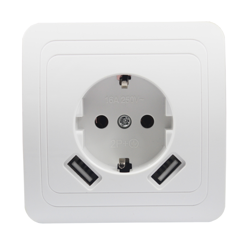 USB Wall Socket charger Free shipping Double USB Port 5V 2A Usb enchufes para pared prise high quality white color LB-01