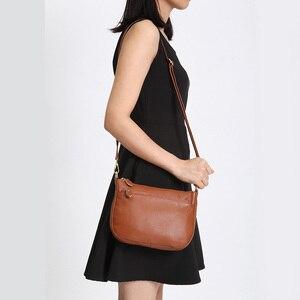 """Image 2 - """"100% אמיתי עור חום תיק אופנה נשים Crossbody תיק קטן דש שקיות פשוט ליידי כתף ארנק שליח"""