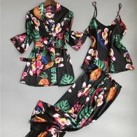 2018 spring new design three pieces satin pajamas sets bathrobe + tops + pants Summer Home Clothing Pijama Female Women Pajamas