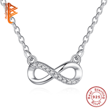 Original 925 Sterling Silver Charms Necklaces Pave Austrian Rhinestone Infinity Pendant Necklace  For Women Fashion Jewelry Gift