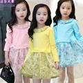 Girls Dress Long Sleeve Patchwork Party Bottoming Sheer Dresses Kids 2-12Years Children Clothing School Vestidos Autumn Spring