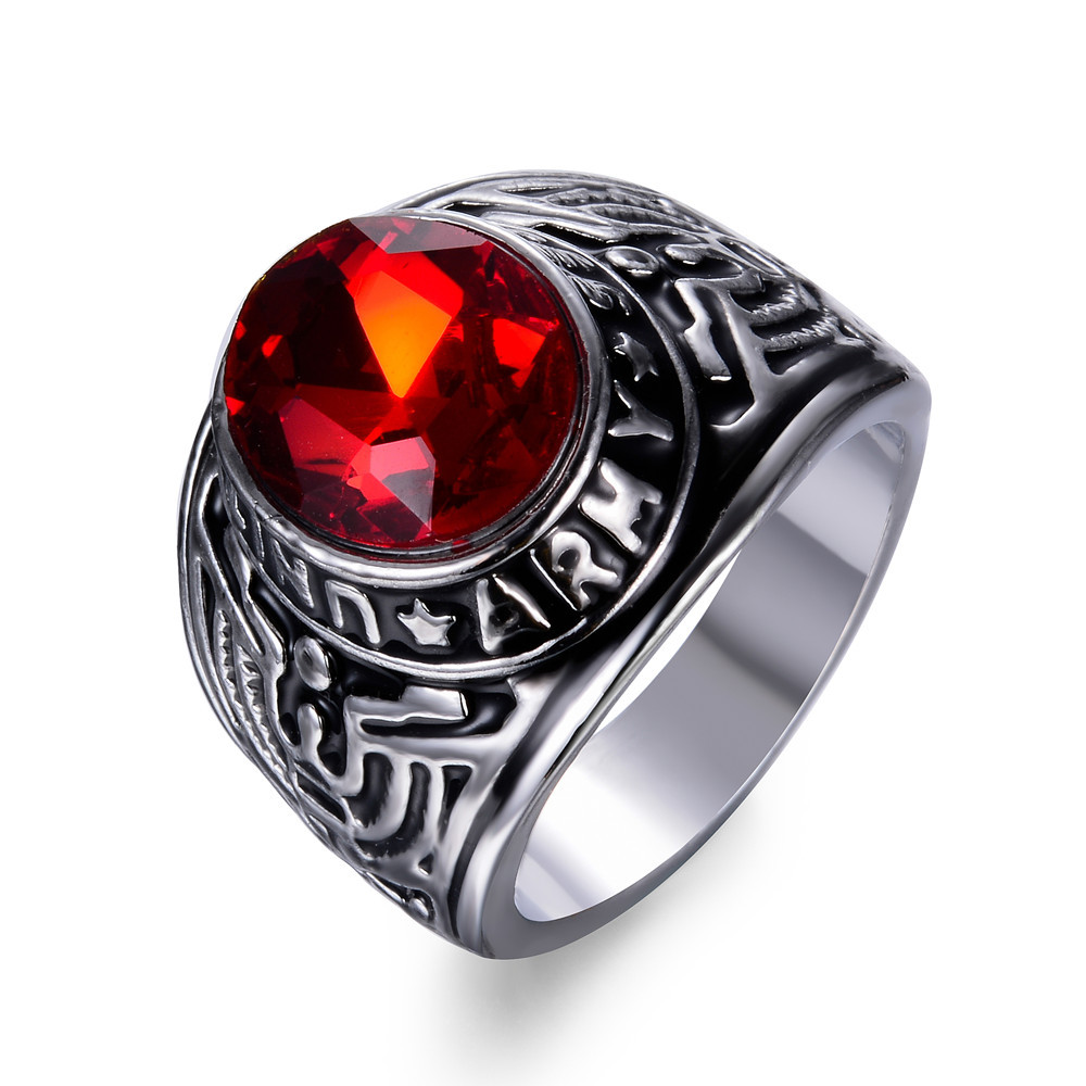 2017 New American Army Soldier Rings Trendy Tide Male Red Stone Antique Silver Color Crystal Ring For Man