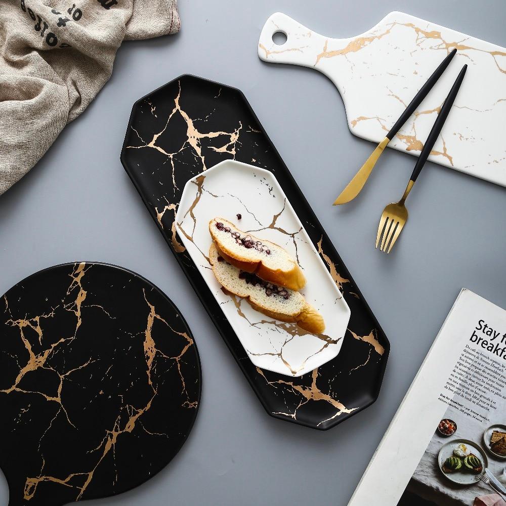 Европейская белая, черная, Золотая керамическая посуда и тарелка для пиццы, десерт, стейк, набор для ужина, фарфоровая посуда, декоративный поднос для еды|Блюдца и тарелки|   | АлиЭкспресс - Посуда