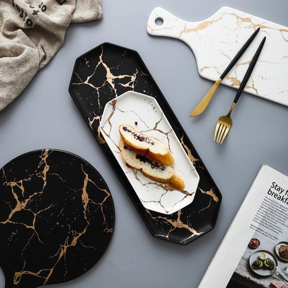 Europäischen Weiß Schwarz Goldene Keramik Gerichte Und Platte Pizza Dessert Steak Geschirr Porzellan Geschirr Dekorative Tablett